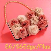 【萌萌噠】三星 Galaxy S6/S6Edge/Plus  立體高雅雙色玫瑰保護套 帶掛鍊側翻皮套 支架插卡 錢包式皮套