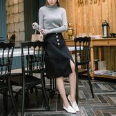 《CA1389》浪漫約會系列~質感排釦高棉A字中長裙 OrangeBear