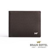 【BRAUN BUFFEL】德國小金牛HOMME-M系列極光紋4卡零錢袋皮夾(咖啡)BF306-315-ENY