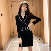 洋裝韓系秋裝西服領女神范黑色氣質顯瘦連身裙小禮服8519GT364快時尚