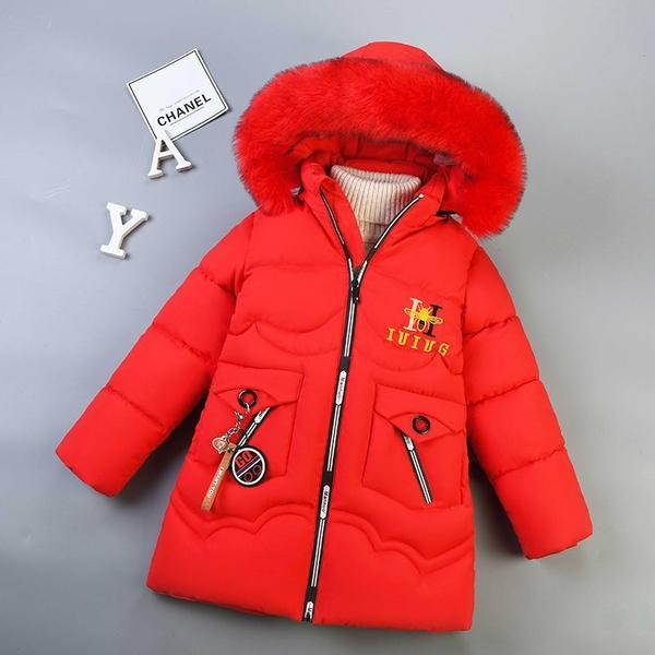 女孩連帽中長夾棉女童外套羽絨服 女兒童裝中大女童潮流棉服外套 韓加厚保暖秋冬洋氣加絨夾克