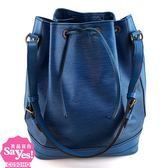 【奢華時尚】秒殺推薦絕版款!LV M44005 藍色EPI麥穗壓紋肩背大水桶包(八成新)#22628