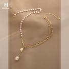 項鍊 花跡小眾設計珍珠項鍊女雙層疊戴復古流蘇鎖骨鍊冷淡風網紅頸鍊 晶彩 99免運