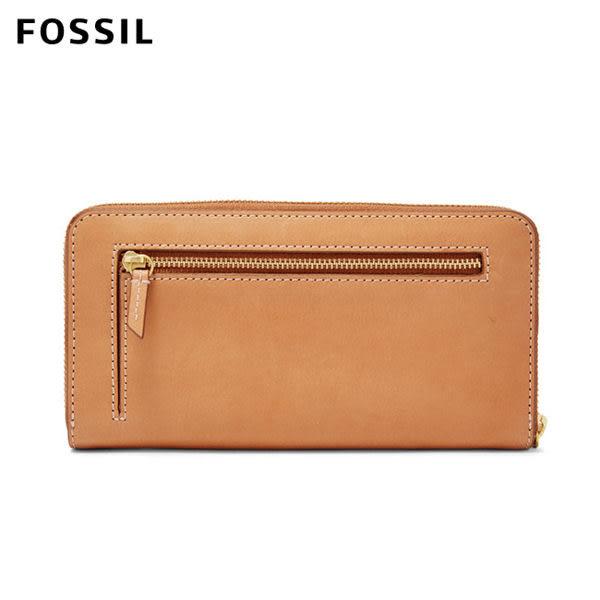FOSSIL Emma 淺駝色真皮RFID大拉鍊長夾 SL7153231