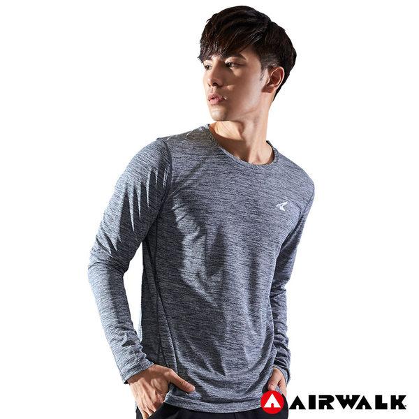 Airwalk Tee 男款吸排長T 灰藍 黑 時尚運動風 長袖上衣 健身 慢跑 訓練 A721106182