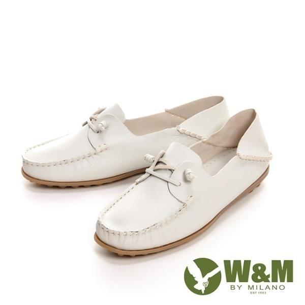 【南紡購物中心】W&M 可水洗懶人踩腳豆豆鞋 女鞋-米白(另有深咖)