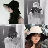 韓版雙面純色漁夫帽女夏季冷淡風大檐帽子百搭日系遮陽防曬太陽帽