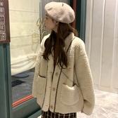 羊羔毛外套女冬季新款韓版寬鬆時尚撞色百搭網紅毛絨夾克外衣 雅楓居