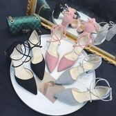 夏季正韓百搭綁帶絨面高跟鞋子粗跟一字扣包頭涼鞋女中跟 三色可選 全館免運