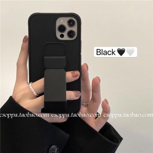 手機殼 ins極簡酷黑支架適用iPhone12promax蘋果11手機殼7/8plus小眾x/xr