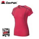 【EasyMain 衣力美 女 抗菌防臭涼爽排汗短袖T恤《深紅》】TE21022/機能上衣/透氣上衣/運動排汗衫