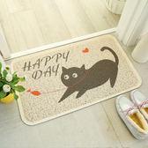 亮馬家地墊創意貓咪腳墊黑白進門墊廚房衛浴防滑防水定做水洗地毯【端午節免運限時八折】