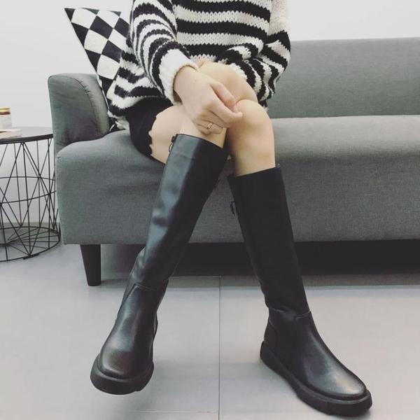 膝上靴冬季女2020新款正韓英倫平底顯瘦皮靴高筒過膝長筒馬靴騎士靴
