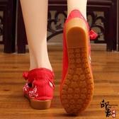 中國風燙鉆刺繡繡花鞋女單鞋子民族風工藝布鞋漢服配鞋女式涼鞋 週年慶降價