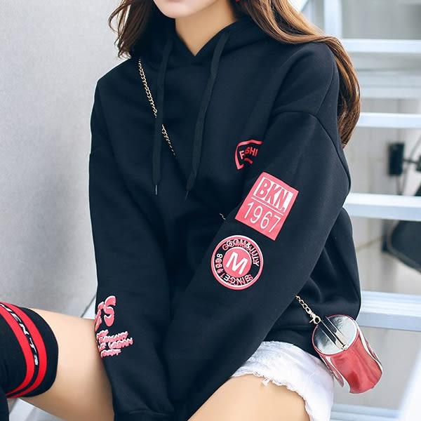 現貨-T恤-袖印花YES連帽加絨上衣 Kiwi Shop奇異果1109【SPK8281】