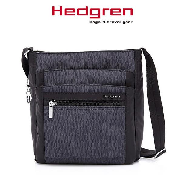Hedgren 後背包 黑色印花 HIC Inner City 都會系列三層格方型斜側背包 HIC370-FD MyBag得意時袋