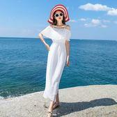 一字露肩吊帶連身裙長裙白色沙灘裙雪紡海邊度假裙女夏31834##N-707-B日韓屋