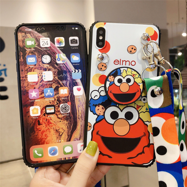 iPhone8 Plus SE2 手機殼 芝麻街 卡通斜挎 可以背的 支架 防摔套 全包軟殼 保護殼 保護套 iPhone SE 2020
