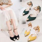 高跟鞋 - 女鞋金屬頭高跟鞋一字扣帶涼鞋夏天細跟單鞋中跟皮鞋【韓衣舍】