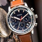 FOSSIL GOODWIN 暖系緞面皮革腕錶 FS5414 熱賣中!