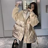 仿羊羔毛 加厚長袖拼接棉衣 女冬季韓版中長款 寬鬆棉服外套 氣質風