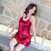 睡衣女夏季薄款冰絲吊帶蕾絲性感絲綢睡裙寬鬆情趣露背家居服 aj9734『黑色妹妹』