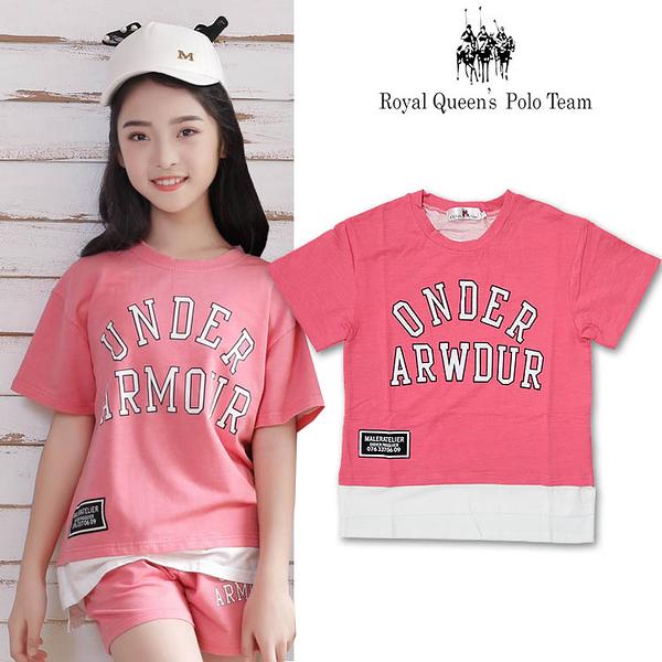 女童 短袖上衣 T恤 粉色 拼接下擺 [88610] RQ POLO 春夏 中大童 120-165碼 童裝 現貨