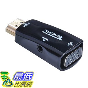 [美國直購] Tendak AV-072-BK Gold-Plated Active HD 1080P HDMI to VGA Converter Adapter Dongle 轉接頭