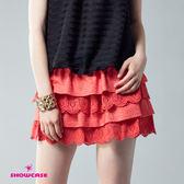 【SHOWCASE】俏麗點點緹花蕾絲襬層次蛋糕裙(橙)