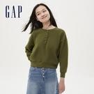 Gap女裝 簡約半開襟亨利領上衣 626841-橄欖綠