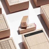 【BlueCat】時間軸養成打卡木頭印章 手帳印章 橡皮印章 (40x40mm、16x65mm)