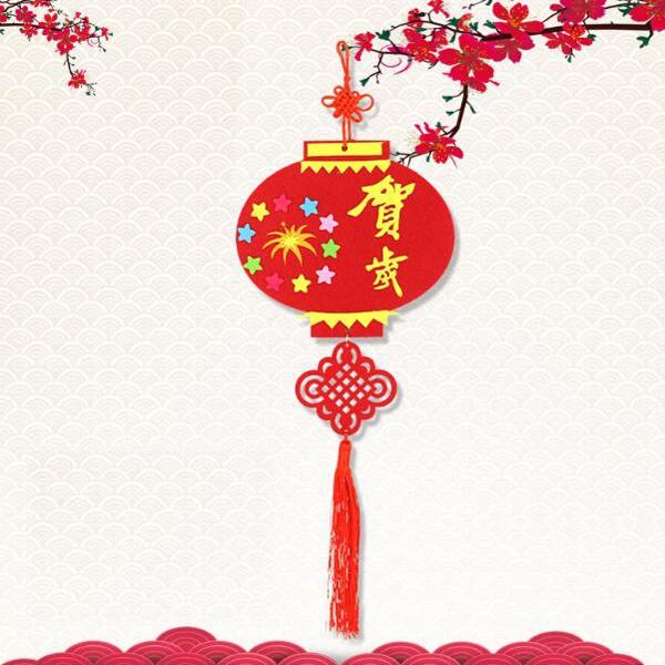 【BlueCat】新年大小中國結流蘇不織布吊飾 手做材料包