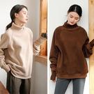 親膚高領衛衣加厚加絨寬鬆慵懶風復古上衣2色/設計家 S91101
