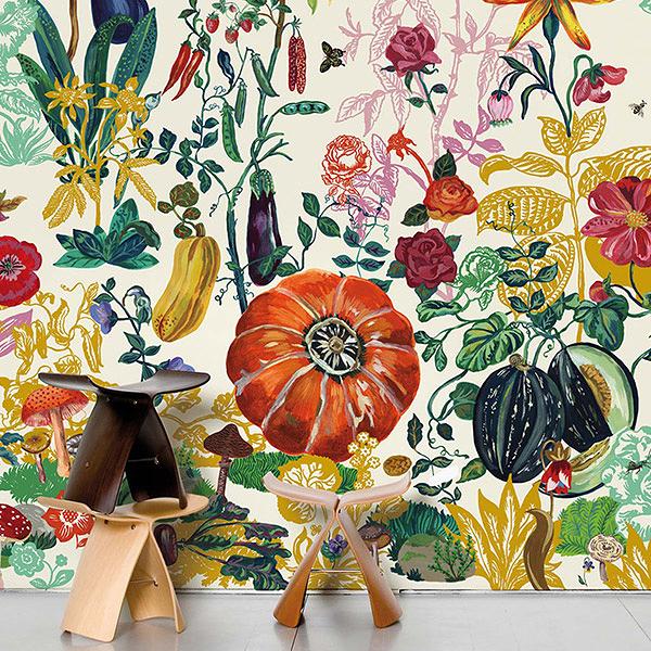 【進口牆紙】Domestic【訂貨單位372cm×3m/套(一套八張壁板)】法國 Jardin Creme Nathalie Lete NDL042