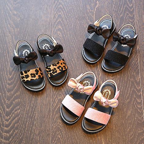 豹紋粉色皮毛緞面蝴蝶結涼鞋 橘魔法Baby magic 現貨 兒童 童鞋  童裝 女童