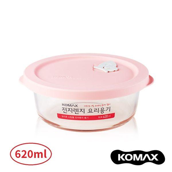 韓國KOMAX 耐熱玻璃蒸氣孔保鮮盒-圓型(620ml) 餐盒 便當盒 儲物盒