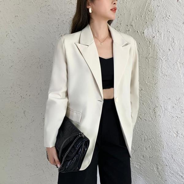 西裝外套 米白色小西服女韓版寬松春秋黑色西裝外套炸街上衣學生