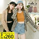 LULUS特價-E格紋單口袋襯衫-2色  現+預【01032145】