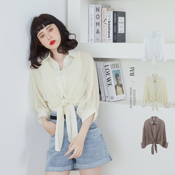綁結款細條壓紋透肌感寬鬆襯衫-BAi白媽媽【310402】