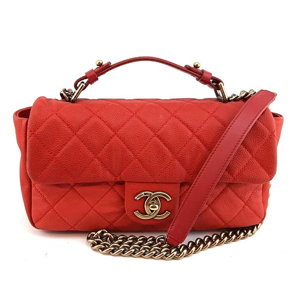 【奢華時尚】CHANEL紅色霧面牛皮復古金鍊手提斜背兩用信封包(八五成新)#24262
