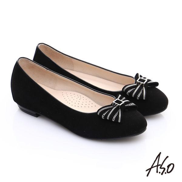 A.S.O 輕透美型 絨面羊皮蝴蝶結飾窩心平底鞋 黑