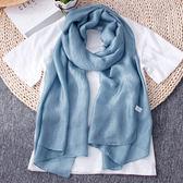長款薄絲巾女百搭純色防曬披肩圍巾兩用雪紡紗巾