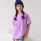小童 純棉 鮮豔紫彩繪字母短T 春夏童裝...