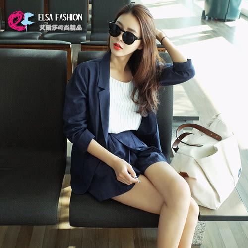 長袖褲裝 韓流同步雙口袋單釦西裝外套+修身顯瘦短褲套裝 艾爾莎【THB3938】