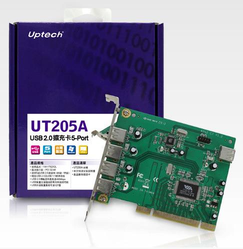 [ 中將3C ]   Uptech 登昌恆 UT205A USB2.0擴充卡5-Port   UT-205A