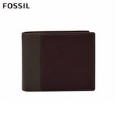 FOSSIL WARD 真皮證件格零錢袋RFID男夾-深咖啡X酒紅色 ML4162201
