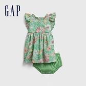 Gap嬰兒 甜美純棉洋裝套裝 681714-綠色