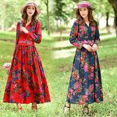 洋裝 民族風中國風女裝長袖連身裙腰封收腰棉麻大尺碼寬鬆長裙