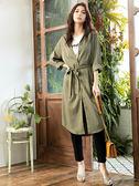 秋裝上市[H2O]可當洋裝或外套附腰帶長版襯衫 - 紅/綠/卡色 #9654004