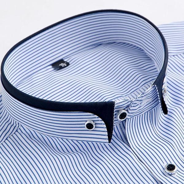 秋季扣領尖領豎條紋寸杉男士青年修身款藍色休閑襯衣拼色免燙襯衫